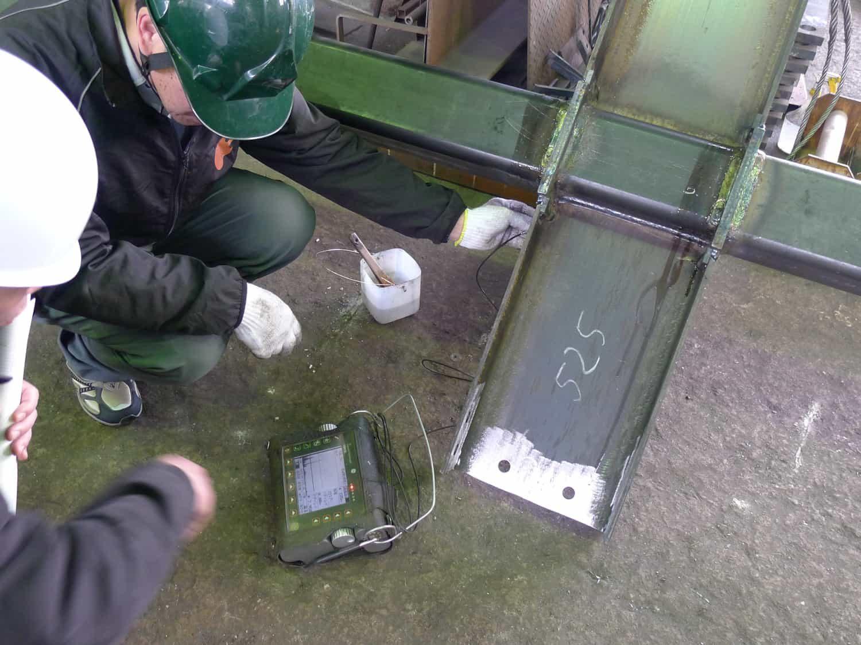 尾張町計画 鉄骨溶接部の超音波探傷試験