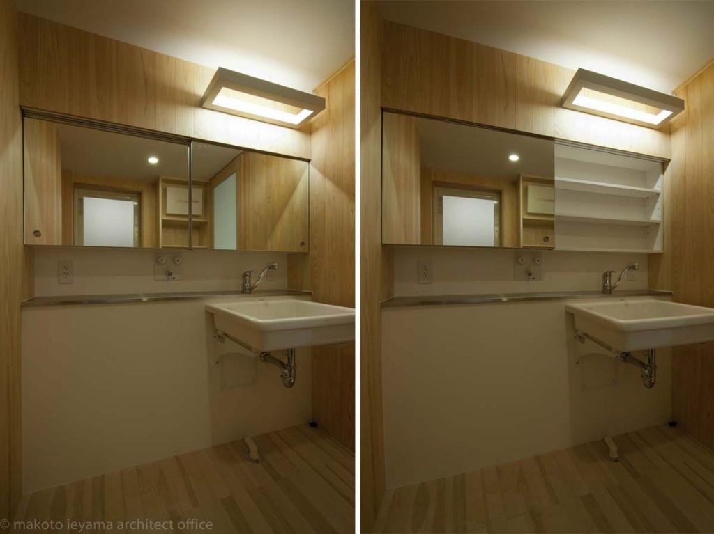 洗面所の収納鏡