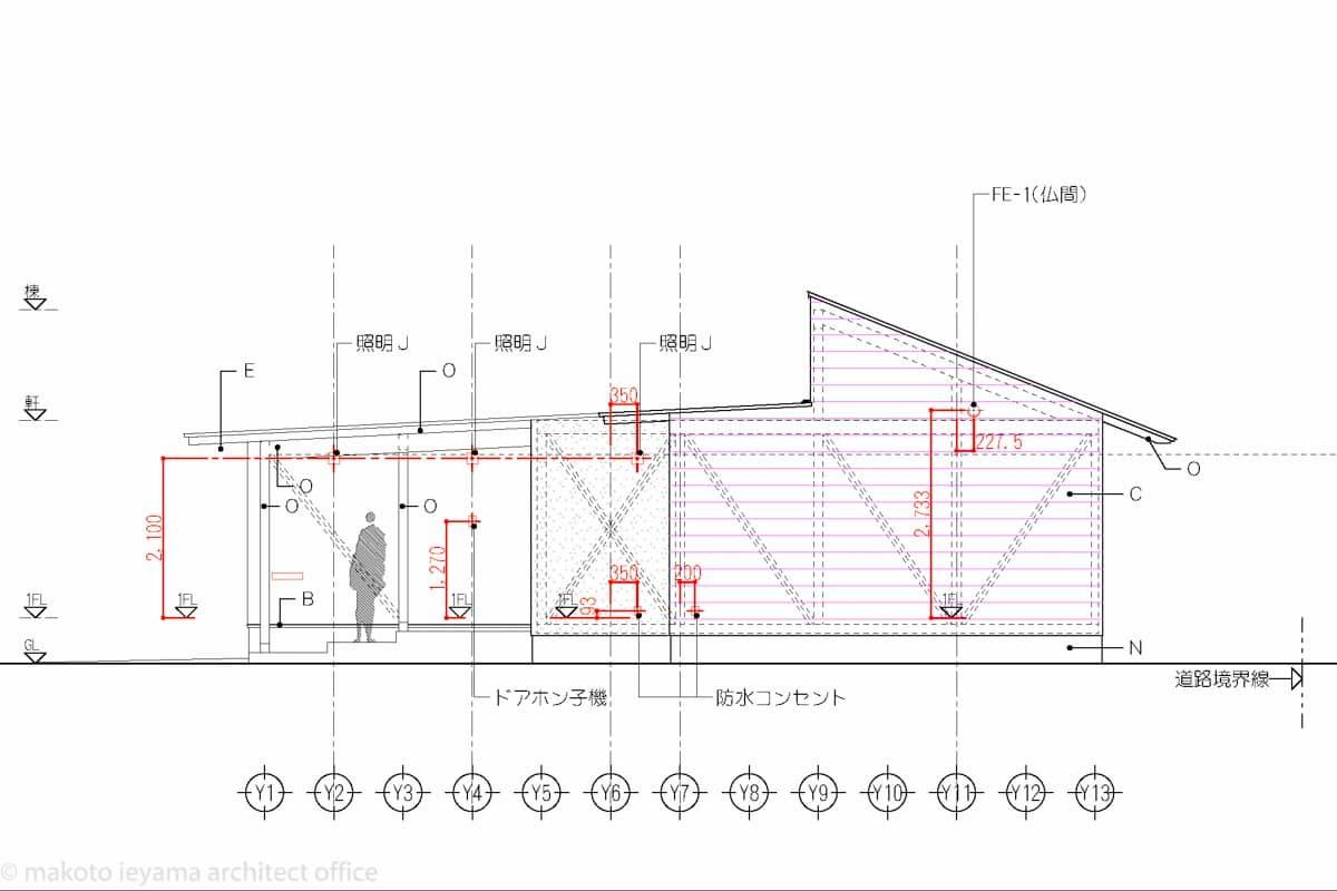 立面図 設備プロット図