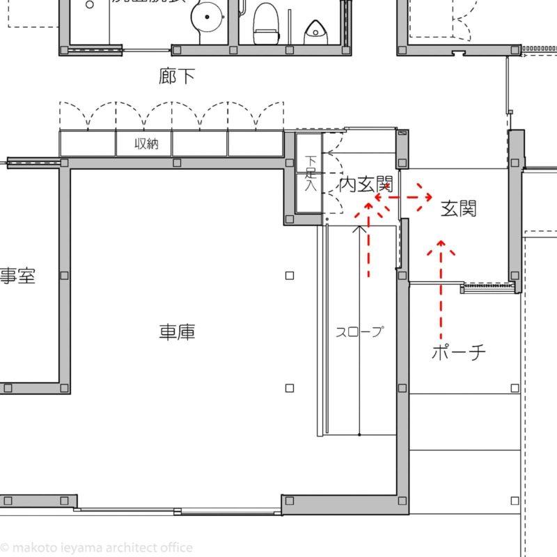 南砺市の家 車庫と内玄関の図面